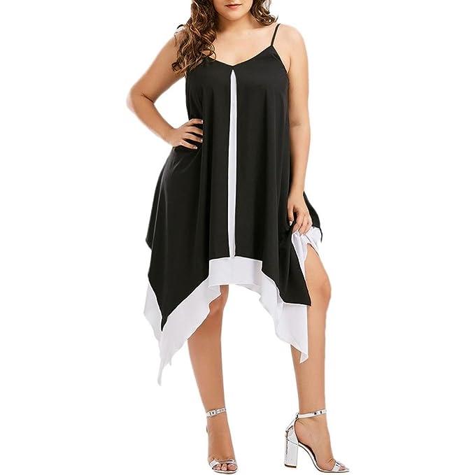 Clearance! Ruhiku GW Womens Plus Size Dress Bilayer Spaghetti Strap  Irregular Loose Mini Sling Dress