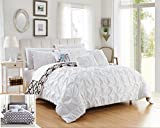 Chic Home 10 Piece Yael Pleated Pintuck and Aztec inspired printed REVERSIBLE with Elephant Embroidered pillow King Bed In a Bag Comforter Set White