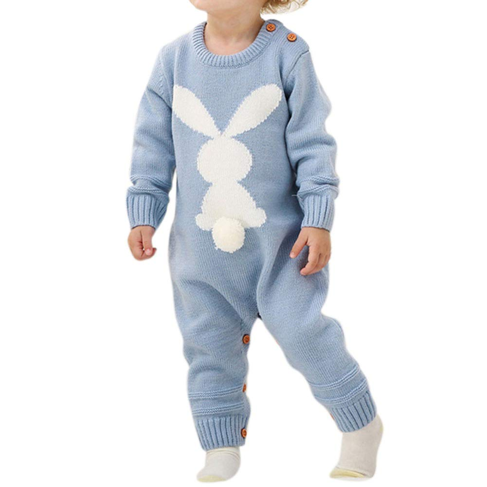 BOBORA Newborn Winter Jumpsuit, Baby Girls Boys Long Sleeve Knitted Rompers Bodysuits Infants Cute Rabbit One-Piece Winter Warm Clothes Playsuits for 0-24Months BO-UK991