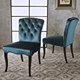 Hallie Dining Chairs | Traditional Scroll Styling | Tufted New Velvet in Grey (Set of 2) For Sale
