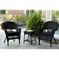 Jeco W00207_2-CES017 3 Piece Wicker Chair and End Table Set with Cushion, Black