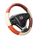 wood grain car mats - ZYHW Car Steering Wheel Cover Universal 14 Inch Middle Size Auto Anti-slip Leather Wheel Protector with Wood Grain Design Beige Style B