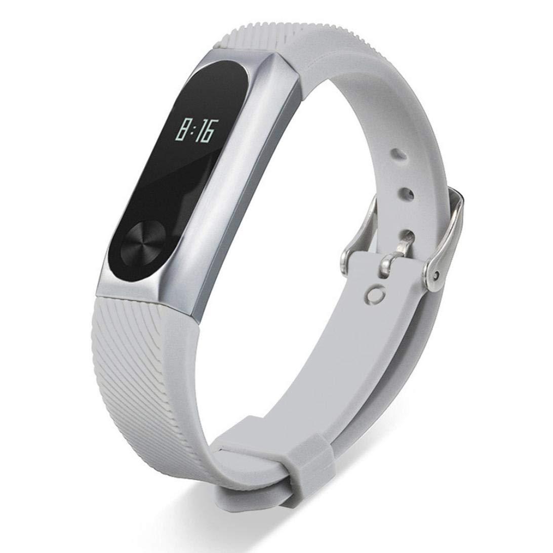 ☀️Modaworld Pulsera de Correa de Estilo de Negocios de Pulsera de Metal Pulsera de reemplazo Correa de Reloj Elegante para Xiaomi Mi Band 2 (B): ...