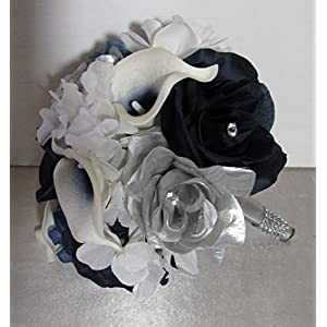 Navy Blue Silver White Rhinestone Rose Calla Lily Bridal Wedding Bouquet & Boutonniere 49