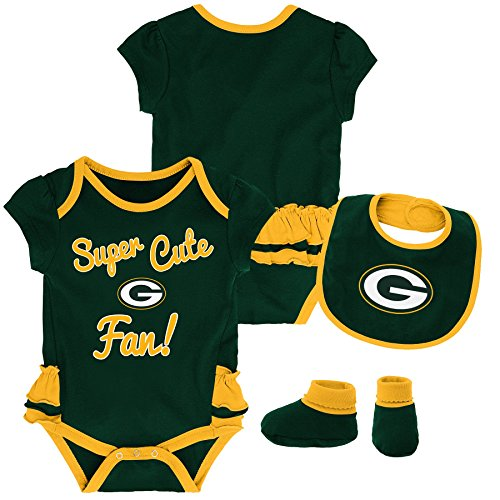 Outerstuff NFL NFL Green Bay Packers Newborn & Infant Mini Trifecta Bodysuit, Bib, and Bootie Set Hunter Green, 0-3 - Kids Infant Green Clothing