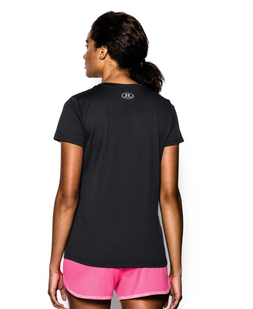 Under Armour Women's Tech V-Neck, Black /Metallic Silver, Small by Under Armour (Image #2)