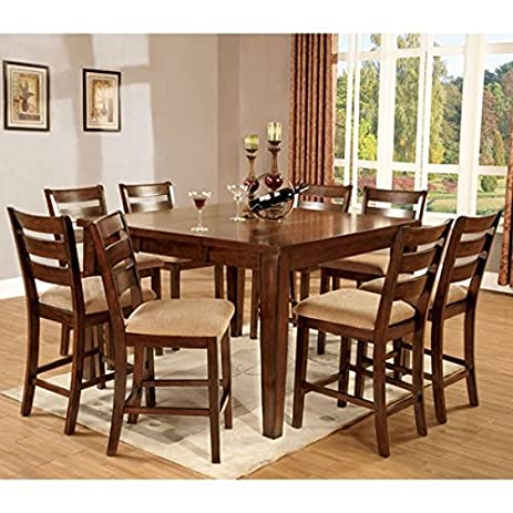 Priscilla Mission Style Antique Oak Finish 9 Piece Counter Height Dining Set