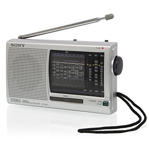 Sony Portable Compact 12 Channel World Band Shortwave Radio Receiver with Built-In Speaker & Kickstand, Headphone & DC In-Jack, Large Dial Tuner & LED Tuning Indicator, Telescoping Antenna and Wristband - Silver (Radio World Band)