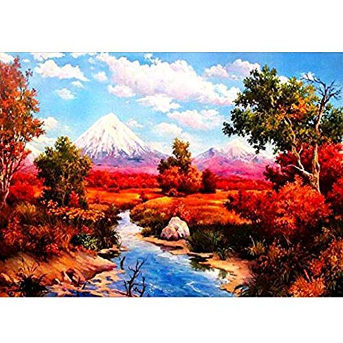 - 5D Embroidery Paintings Paint by Number Kits for Adults Beautiful Red Maple Leaf and Snow Mountain Scenes DIY Diamond Painting for Home Wall Decor, 11.8