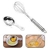 18/8 Stainless Steel Whisk-Balloon Wire Whisk for Blending,Whisking,Beating,Stirring & Mirror Polish Egg White and Yolk Separator Grade 18/8 Stainless Steel Kitchen Gadgets
