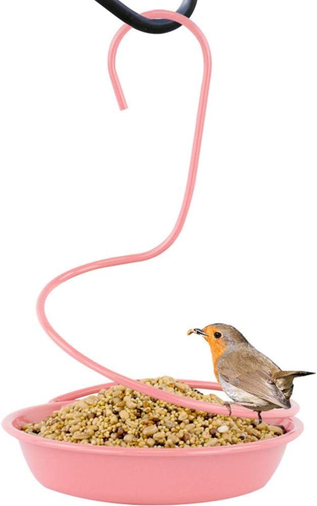 Cacoffay Rosado Colgando Al Aire Libre Comedero para pájaros Alimentador Pequeña Abovedado De múltiples Fines Comedero para pájaros para Gusanos de la harina, Semilla, o Fruta para Jardín, Yarda