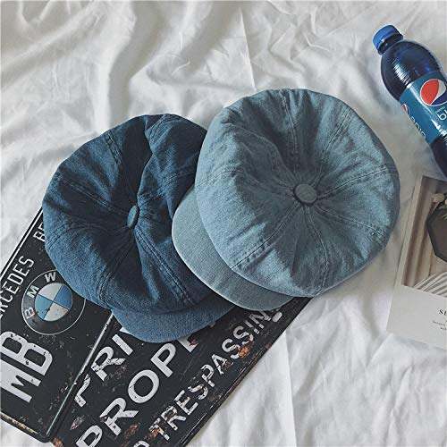 JINGB Home Wild Casual Washed Denim Newspaper hat Fashion Retro Duck Tongue Octagonal Cap Female Summer Beret (Color : Dark Blue)