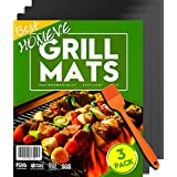 "Homeve BBQ Grill Mat - Non-Stick Mats (Set of 3), FDA-Approved, PFOA Free, Size 13"" x 16"", Black Color (3 Pack with Brush)"