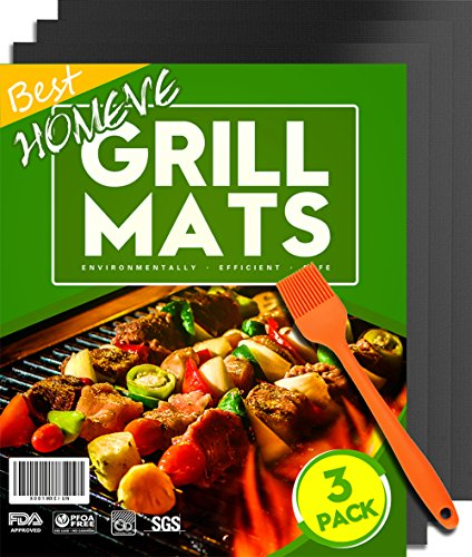 - Homeve BBQ Grill Mat - Non-Stick Mats (Set of 3), FDA-Approved, PFOA Free, Size 13