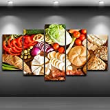 Modern Home Decor HD Print Painting On Canvas Artworks 5 Pieces Fruits Foods Poster Kitchen & Restaurant Wall Art Picture ,20x35 20x45 20x55,Frame