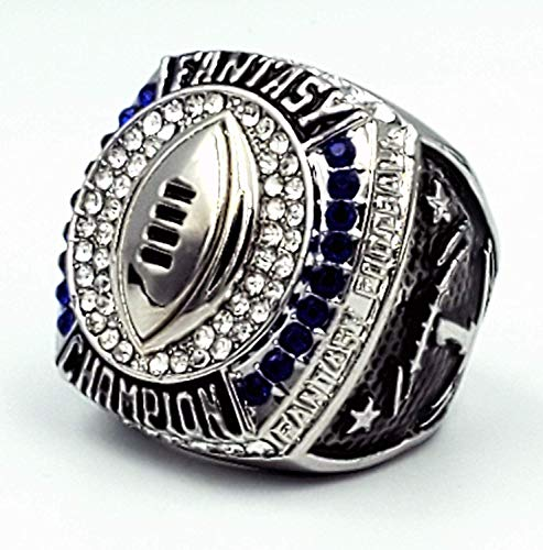 Decade Awards 2019 Fantasy Football Champion Ring - Silver Finish - Heavy FFL League Champ Ring with Stand (10)