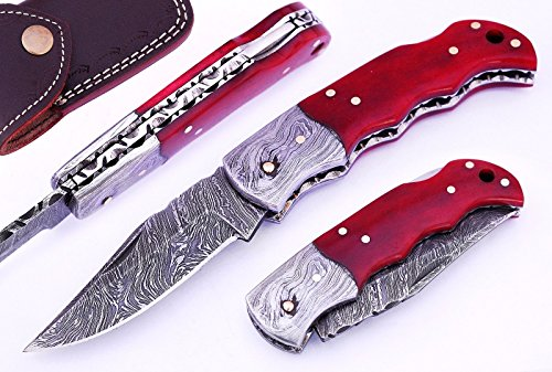 Prime Quality Handmade Red Color Bone Handle 6.5'' Damascus Steel Folding Pocket Knife W/Case/Damascus Bolster by Mason Sharp Edge