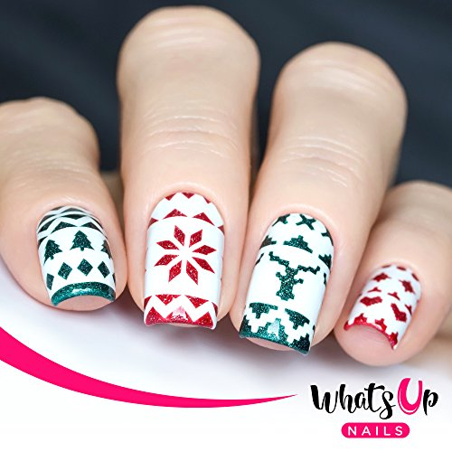 Christmas Nail Stencils 4 pack (Wrapping Paper, Holly, Knit Your Own  Sweater, Silver Jolly Snowflake)