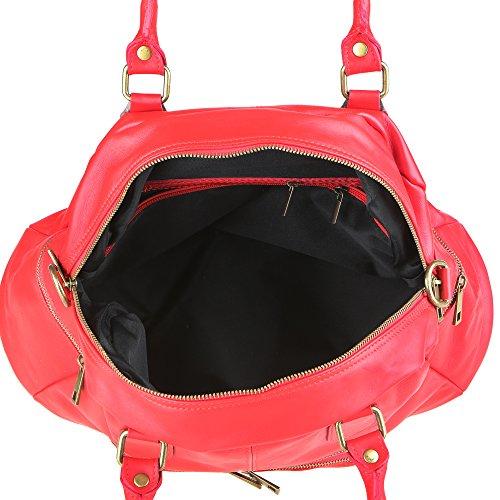 Italy Bolso Hombro Genuino 47x29x21 Mujer Made Correa Rojo En Chicca De Cm In Con Cuero Borse TY7zqxwEnH