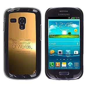 KLONGSHOP // Cubierta de piel con cierre a presión Shell trasero duro de goma Protección Caso - Destoyer De Mundos - Samsung Galaxy S3 MINI 8190 //