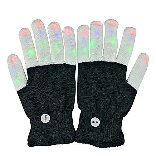 LED Gloves, WYgroup Finger Lights Toys with Lights 3 Colorful 6 Modes Rave Gloves For Party