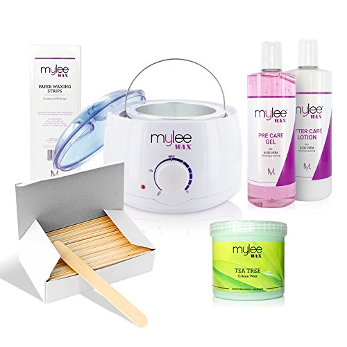 Mylee Complete Waxing Kit, Includes Salon Quality Wax Heater, Soft Cream Wax, Waxing Strips, Spatulas and Mylee Pre & After Care Lotion (Kit + Tea Tree Wax)