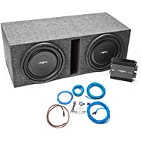 Skar Audio Dual 12 1000 Watt Complete Car Subwoofer Bass Package with Ported Loaded Enclosure and Amplifier