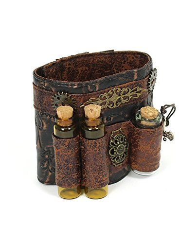 Steampunk Accessories Faux Leather Phial Wristband Costumes For Women Bracelet -