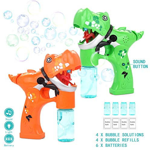 Fun-Here Bubble Dinosaur Gun 2 Pack Bubble Toys Blaster Sound Switch Shooter Party Favors Summer Outdoors Activity Jurassic Toy Machine for Toddlers Kids Boys Girls