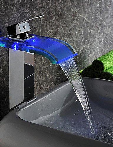 Moderne LED WasserfaÖl Wasserkraftwerk Glas Waschbecken Wasserhahn Chrom-Finish (Groß)