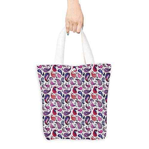 Canvas Handbag Watercolor Hand Painted Ombre Design with Dotted Background Artwork Pink Blue and Purple 100% Canvas, Printed W16.5 x H14 x D7 INCH ()
