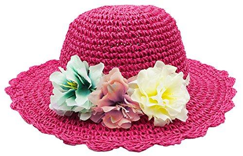 (Bienvenu Girl Kids Summer Wide Brim Floppy Beach Sun Visor Hat with Flowers,)
