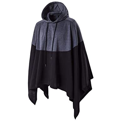 ce8456b3da8 BHYDRY Fashion Mens Irregular Patchwork Loose Bat Sleeves Hooded Poncho  Cape Hooded Outwear Cotton Coat (