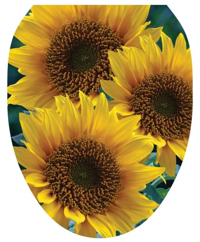 Toilet Tattoos TT-1901-O Sun Kissed Sunflowers Design, Elongated