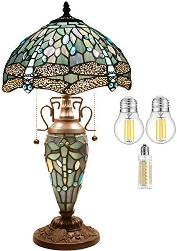 Tiffany Lamp W12H22 Inch 3LED Bulb Included Sea Blue Stained Glass Dragonfly Style Lampshade Bedside Desk Night Read Light Antique Base S147 WERFACTORY LAMPS Lover Living Room Coffee Table Art Gift