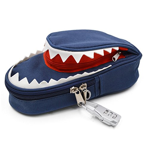 Aisa Shark Pattern Pencil Pouch Bag Durable Double Layers Pencil Case with Code Lock Color Blue