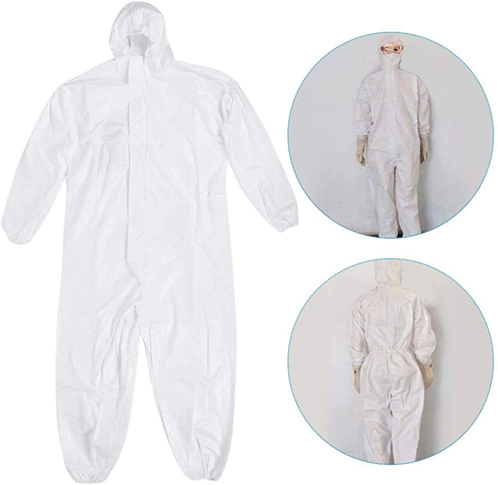 Reusable Safety Clothing,Protection Suit Hooded Coverall with Shoe Covers Men Women Unisex,White Coverall Suit