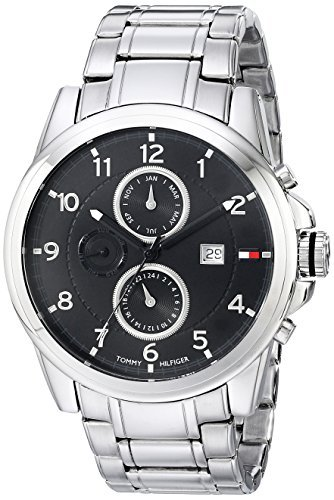 1710296 Classic Stainless Steel Black Subdial Watch (Tommy Hilfiger Water Resistant Bracelet)