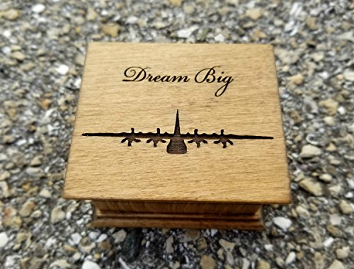 Custom engraved wooden music box with an airplane and Dream Big engraved on top and for a special request the bottom side of the box as well. Great gift for (New Great Planes Wing)