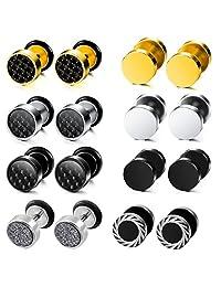 MOWOM 3~9 Pairs Stainless Steel Hoop Huggie Stud Earrings Tapers Plugs Tunnel