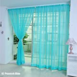 TR.OD Window Curtain Bright Candy Color Floral Voile Curtain Beautiful House Decor Door Window Curtain Panel Sheer Valances Scarf Peacock Blue