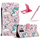 Strap Leather Case for Galaxy A60,Wallet Flip Case for Galaxy A60,Herzzer Stylish Elegant 3D Cartoon Pony Pattern Magnetic Stand PU Leather Case with Soft TPU