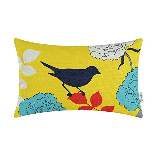 CaliTime Canvas Bolster Pillow Cover Case for Couch Sofa Home Decoration Floral Cartoon Shadow Bird Silhouette 12 X 20 inches Yellow Ground Navy ()