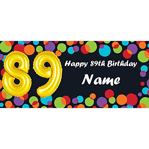 BALLOON 89TH BIRTHDAY CUSTOMIZED BANNER (EACH) customized by