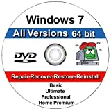 Image of Windows 7 ANY Version 64 Bit Operating System Repair, Recovery, Restore, Re Install, Reinstall, Fix, Boot Disk, DVD, Home Premium, Professional, or Ultimate, (DVD-ROM)DVD