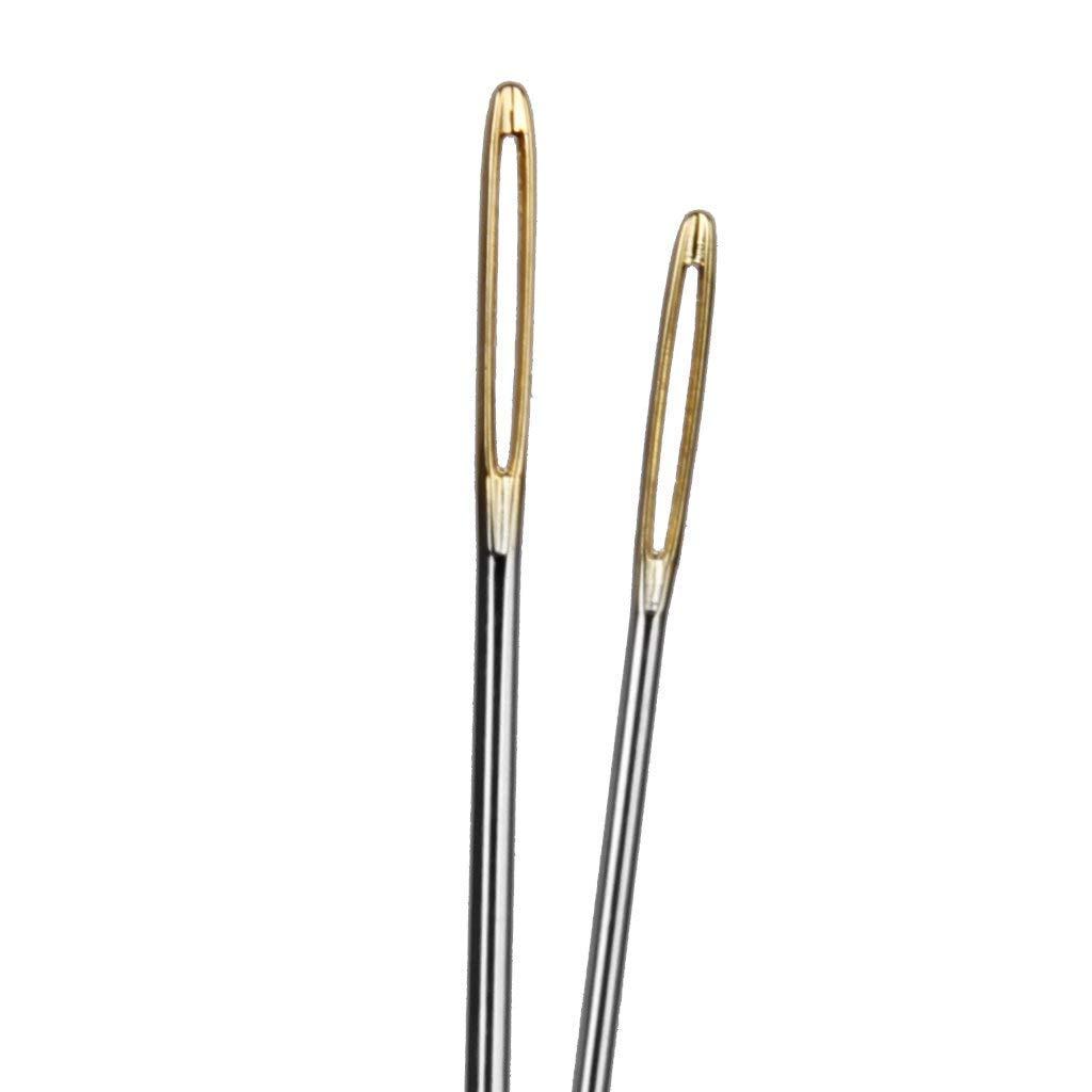 DDG EDMMS 6 Pezzi Big-Eye Blunt Needles Acciaio Filati per Maglieria Needles Cucito a Mano Aghi per Maglieria Uncinetto Oro, Argento