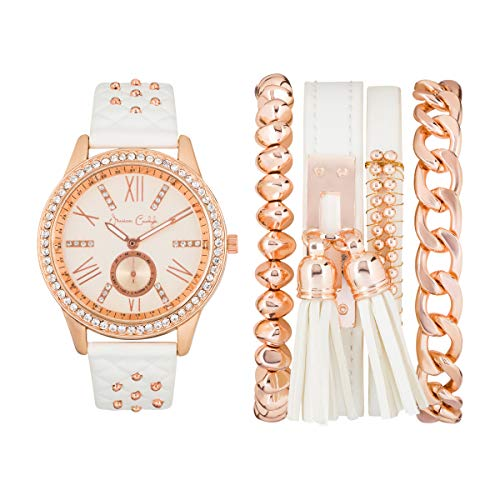 Jessica Carlyle Womens Quartz Rose Gold/White Analog Watch with Bangle Gift - Bangle Quartz Watch
