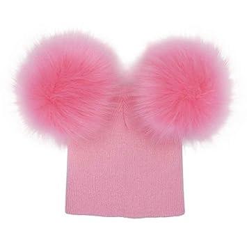 affb23362b0f Bobury Bébé Filles Garçons Double Pompon Chapeau Crochet Tricoté Hiver  Chaud Chapeau Bonnet Beanie Bonnet