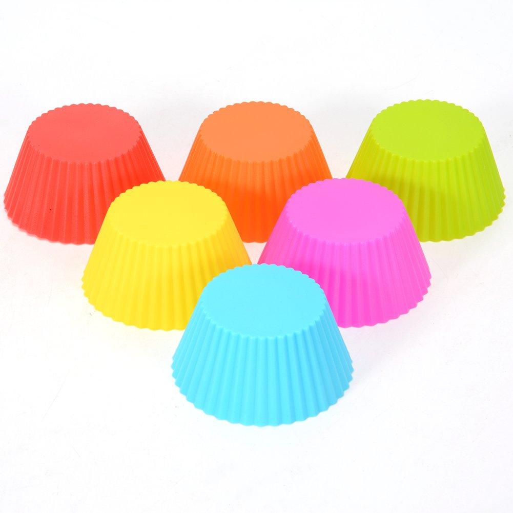 Silicona Cupcake Liners, 24 unidades, 6 colores para cupcakes, reutilizable y antiadherente para magdalenas moldes para magdalenas tazas moldes de pastel ...