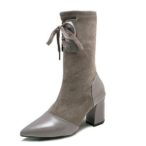 bueno al por mayor calidad real Señoras Zapatos de tacón de Ante Cuadrado de Ante elástico ...